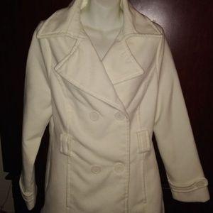 Joujou Off White Peacoat Coat Large Wool Polyester